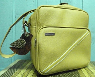 Vintage Tan Luggage Tote Bag by Samsonite with Upcycled Bird Tag