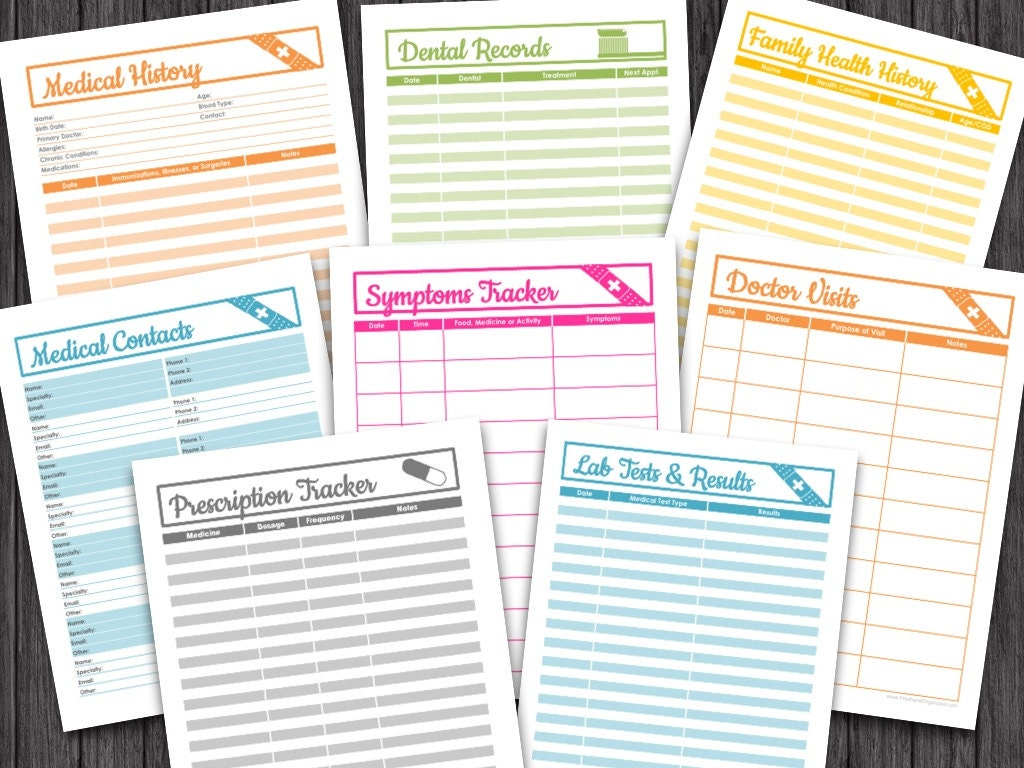 Medical Binder Set Organizing Printables By Freshandorganized