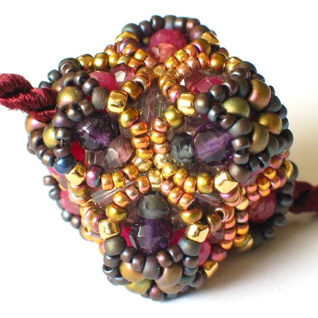 SALE -- Star Cluster Beaded Bead Pendant -- Ruby Spinel Amethyst Garnet Gemstones