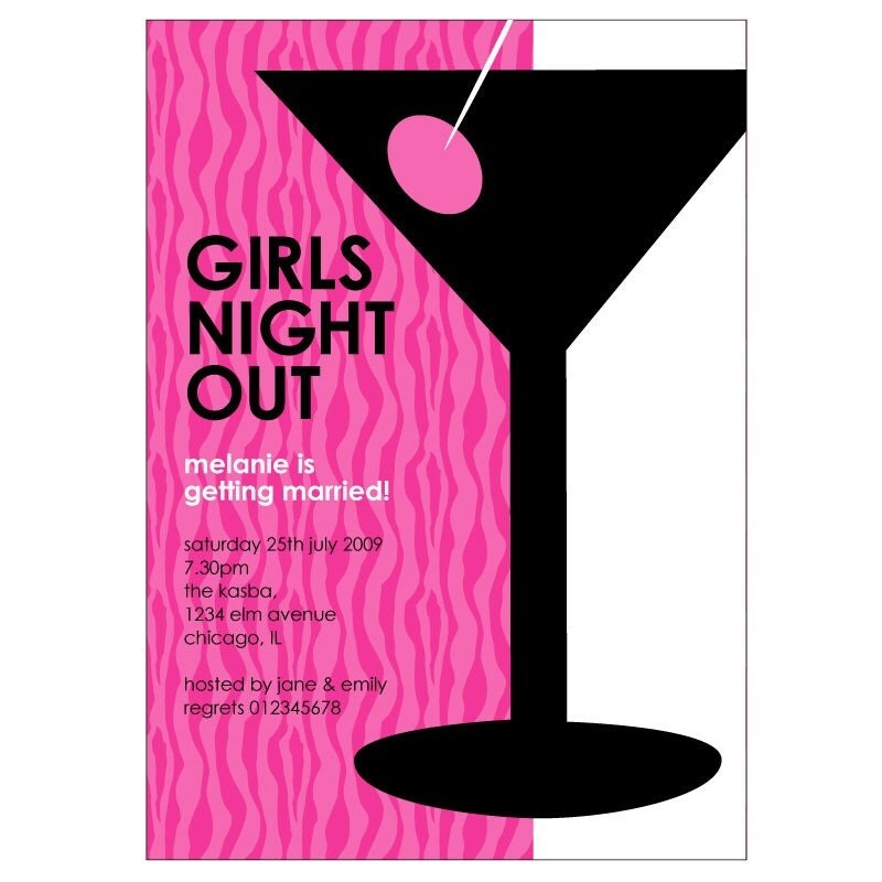 girls night out. girls night out invitation.