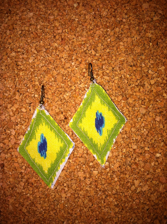 Fabric Pierced Earrings in Green, Blue, White Diamond Design