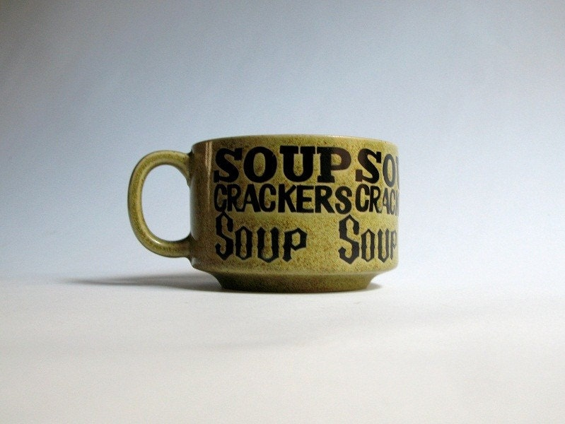 Vintage Soup Mug - Olive Green Ceramic, Stoneware - Made in Japan