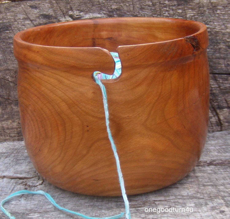 Knitting Bowls Wood : Wood yarn bowl cherry woodturning knitting by onegoodturn u