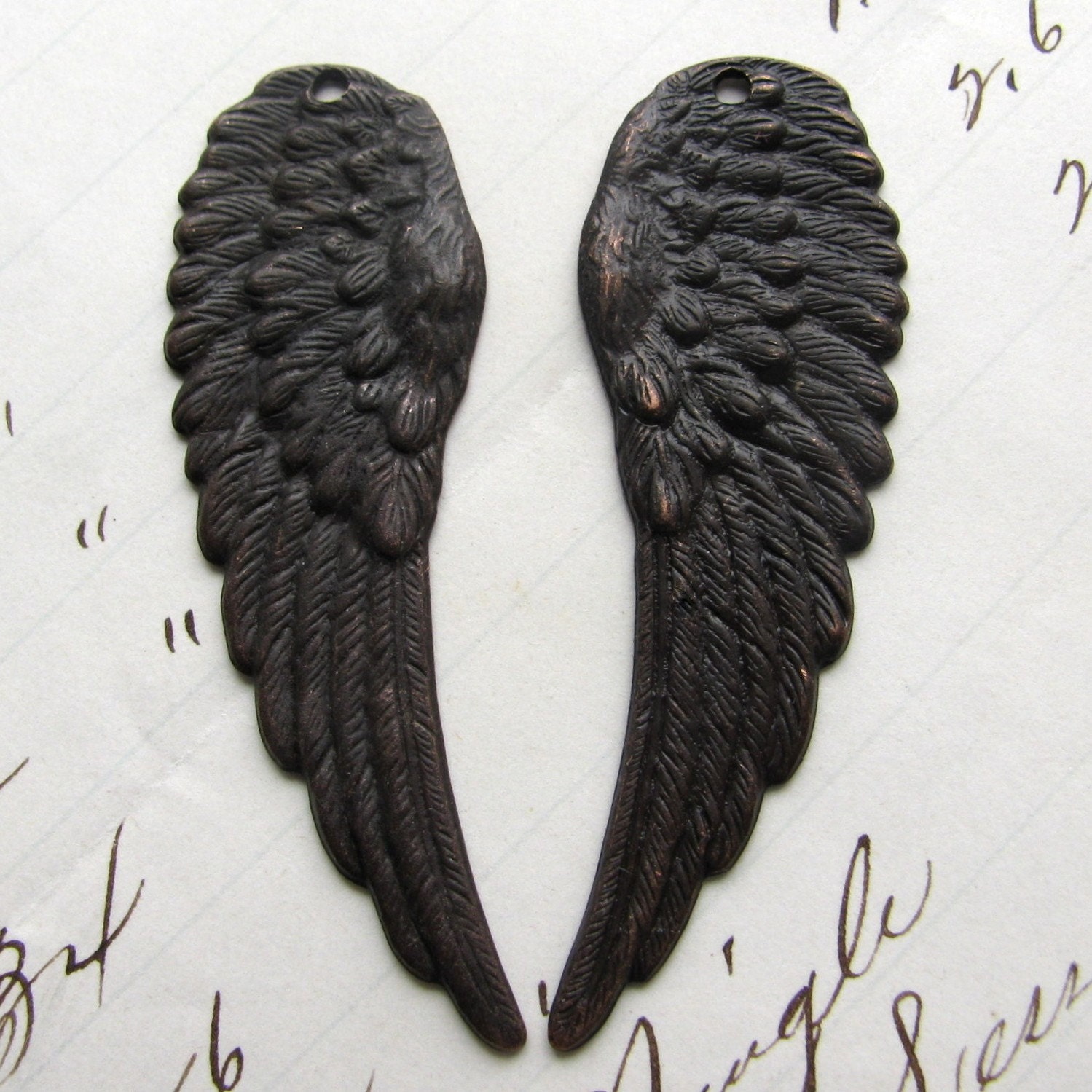 Fallen Angel Wings with holes - antiqued dark brass - 46mm  2 wings Fallen Angels Wings