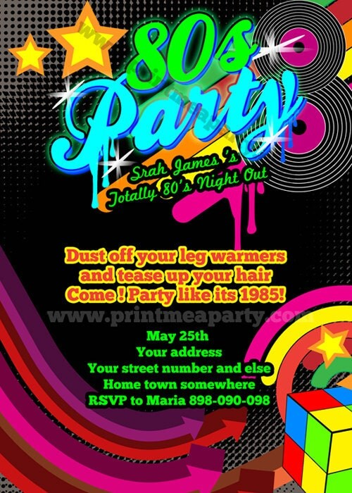 Totally 80's Bling and Neon Birthday party invitation - Glow 80s 70s Birthday - record , neon ...