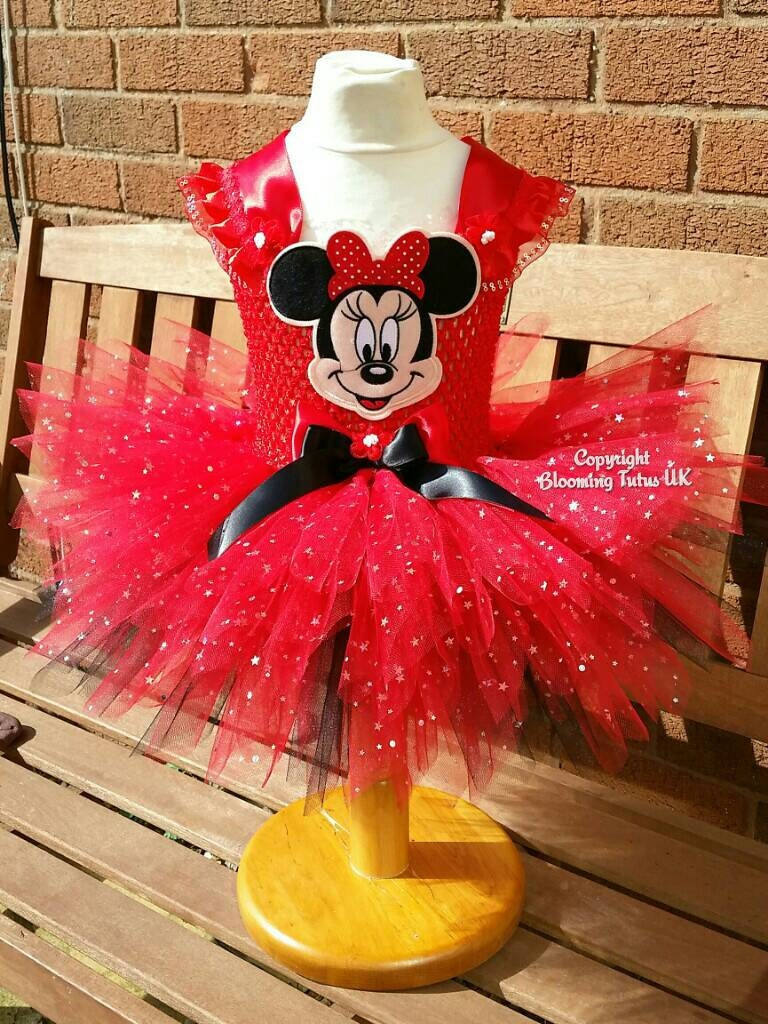 Red Minnie Mouse Inspired Super Sparkly Tutu DressBirthday Party Photo Prop Pageant Fancy Dress Cake smash