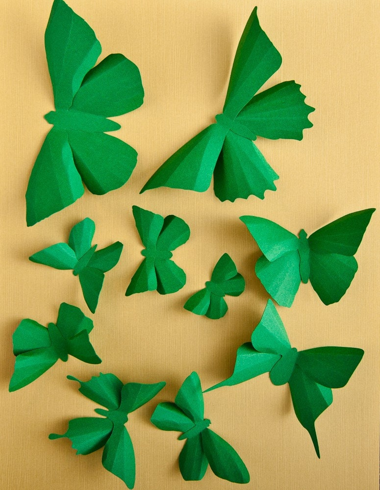 3D Wall Butterflies, 20 Kelly Green Butterfly Silhouettes for Home Art Decor, Nursery, Children's Room