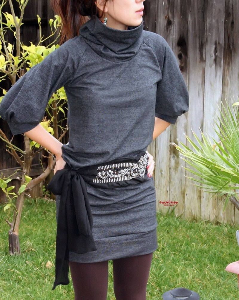 span turtle-neck tunic dress