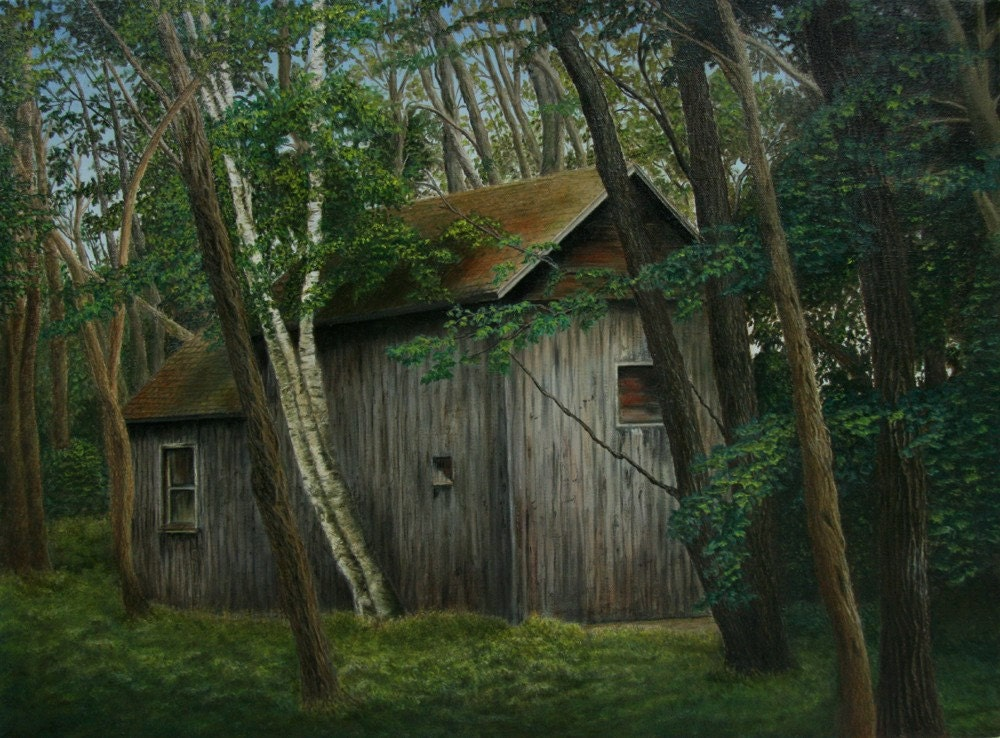 Barn in Woods - Original Oil Painting