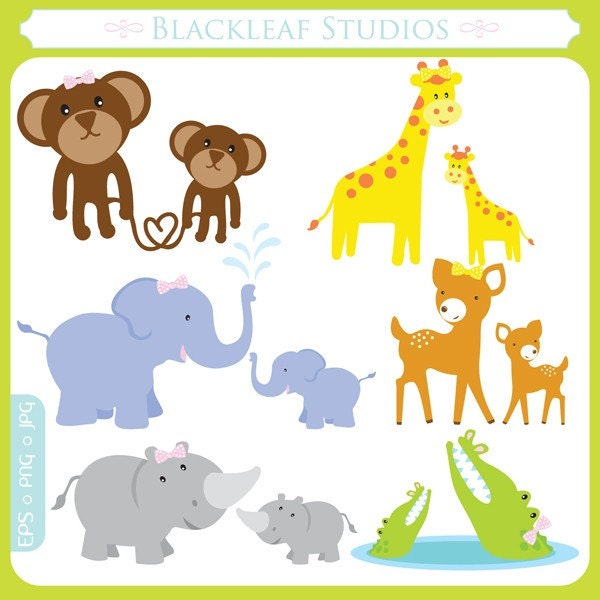 Cute Mama And Baby Animals Clip Art Instant By Blackleafdesign