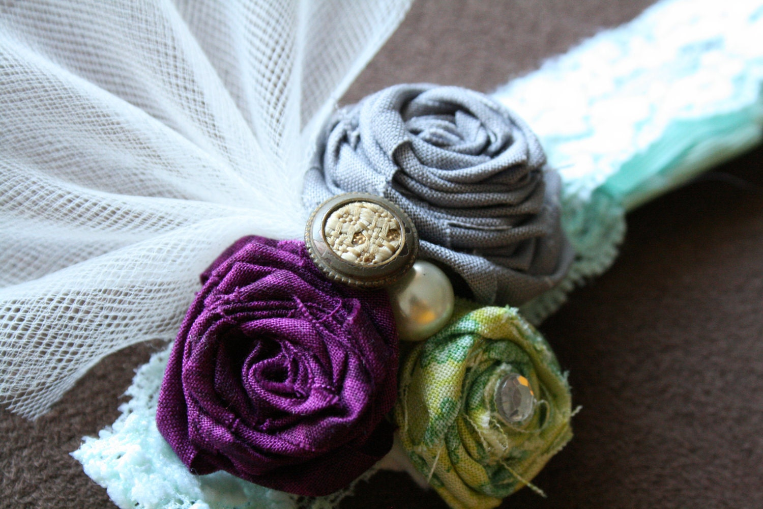 New Flowers, Rosettes & Vintage Buttons on Lace Band-Great for Baby, Newborn, Toddlers, Girls, Teens
