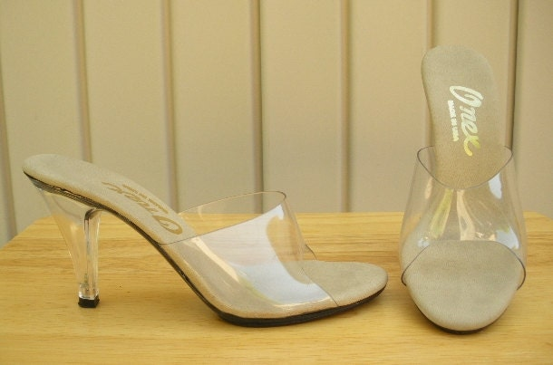Vintage Clear Heels 80s Open Toe Clear Lucite Slides By