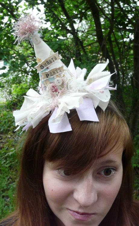 Smarty Pants Fascinator Party Hat - fabric banner tea party mini head piece