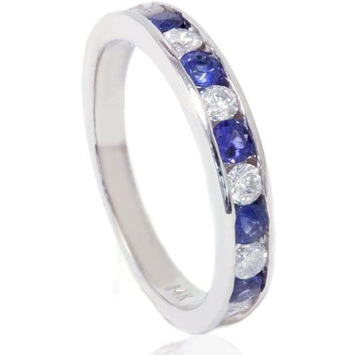 Blue Sapphire & Round Diamond .75CT Channel Set Wedding Anniversary Stackable Ring 14K White Gold SZ (4-9)