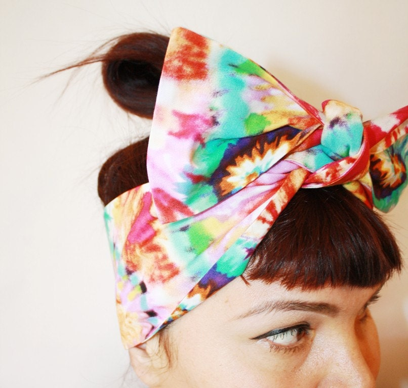 Bow Style Vintage Inspired Head Scarf Tie Dyed by OhHoneyHush Tie Fashion Head Scarves