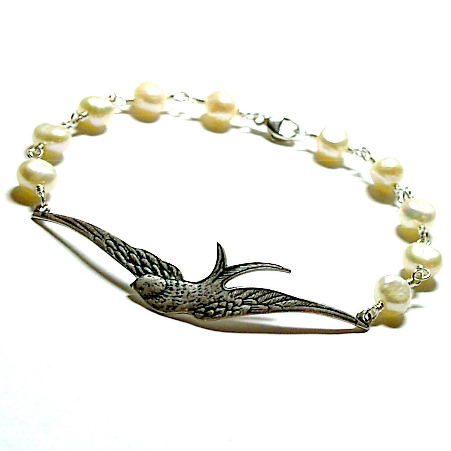 Forever Sparrow Pearl Bracelet by tilleyjewelsbride on Etsy from etsy.com