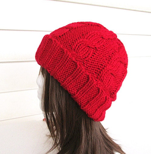 Chunky Cable Knit Hat Pattern Free : Chunky Knit Hat Womens Hat Red Cable Knit Hat by knitwit321