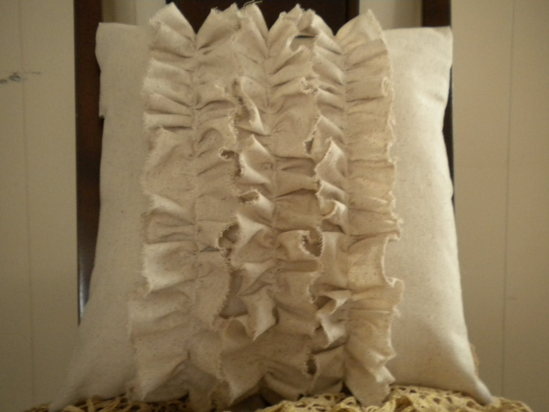 16x16 Osnaburg Ruffle Pillow Cover