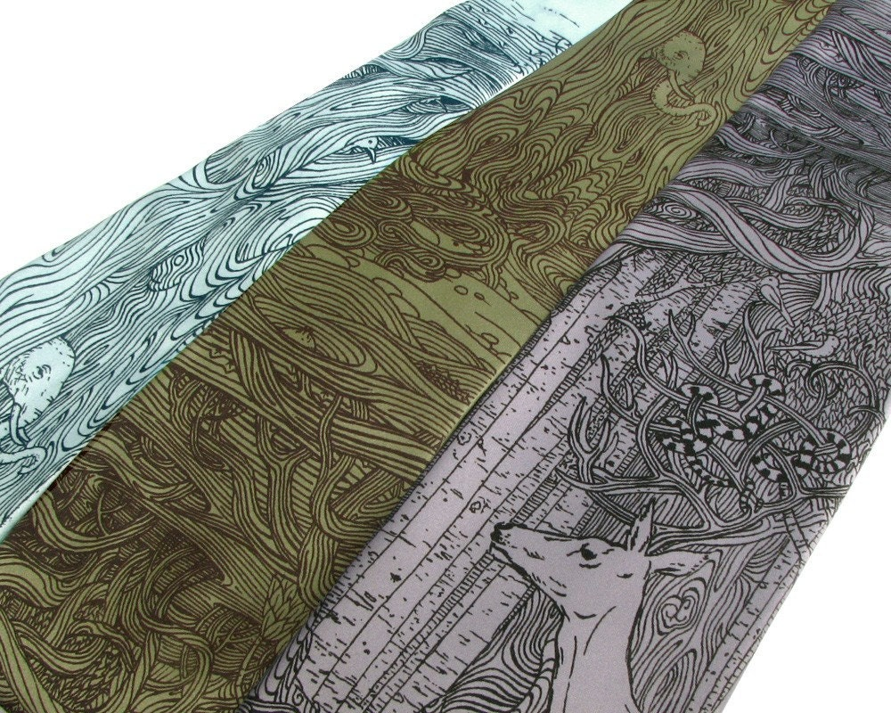 Tangled Forest Necktie - Screen Printed Microfiber Tie