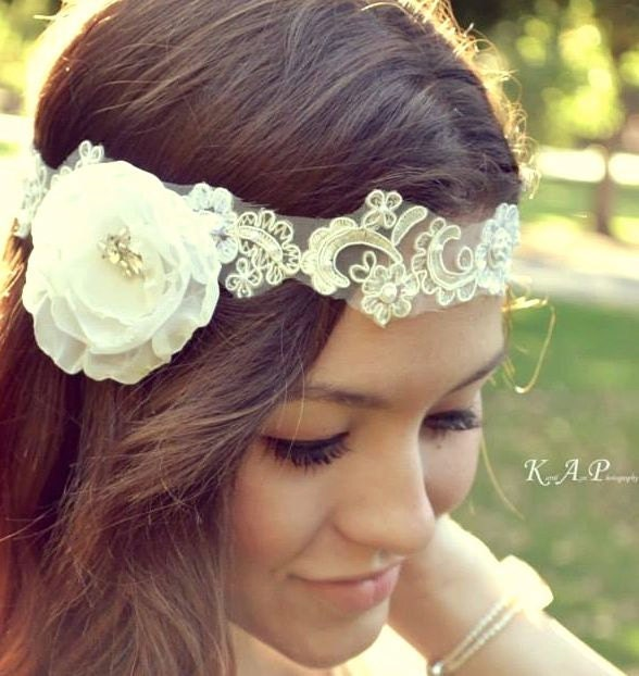Floral Lace Headpiece For Wedding: Floral Bridal Headpiece Lace Halo 1920 Flapper By