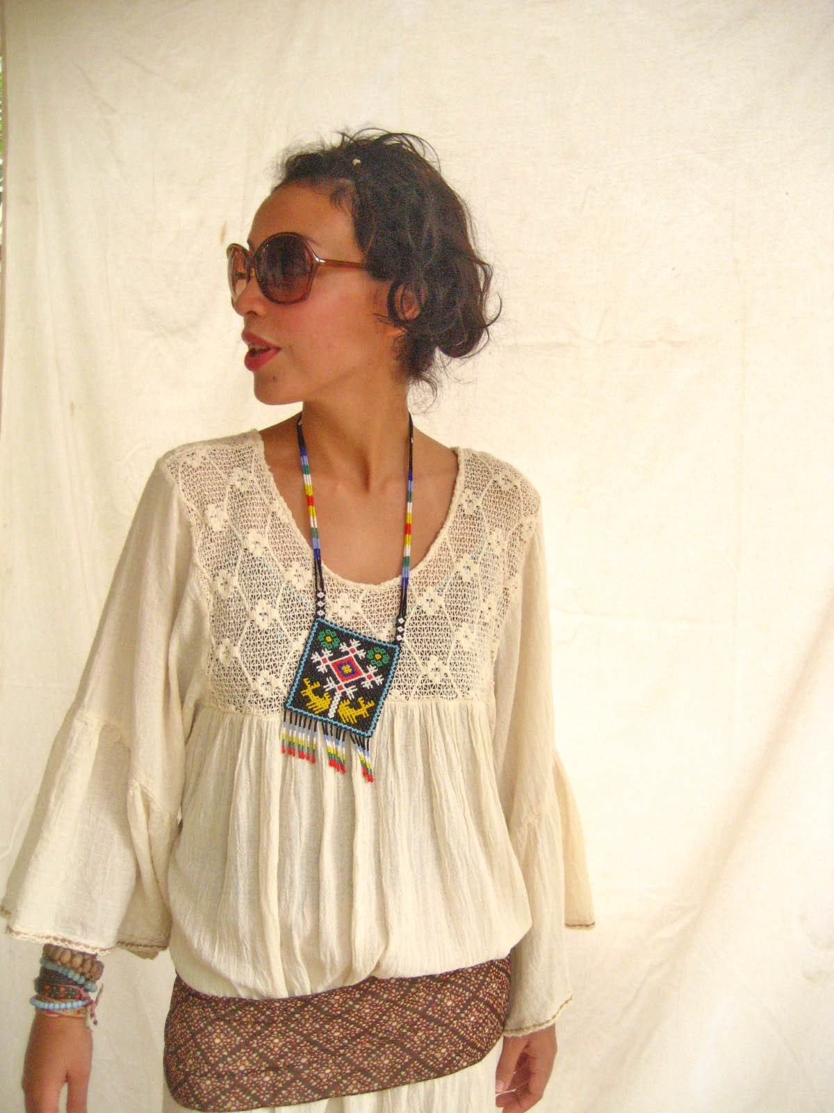 Mexican Embroidered Dress MAXI Tunic stylish hippie BELL SLEEVES up to XL