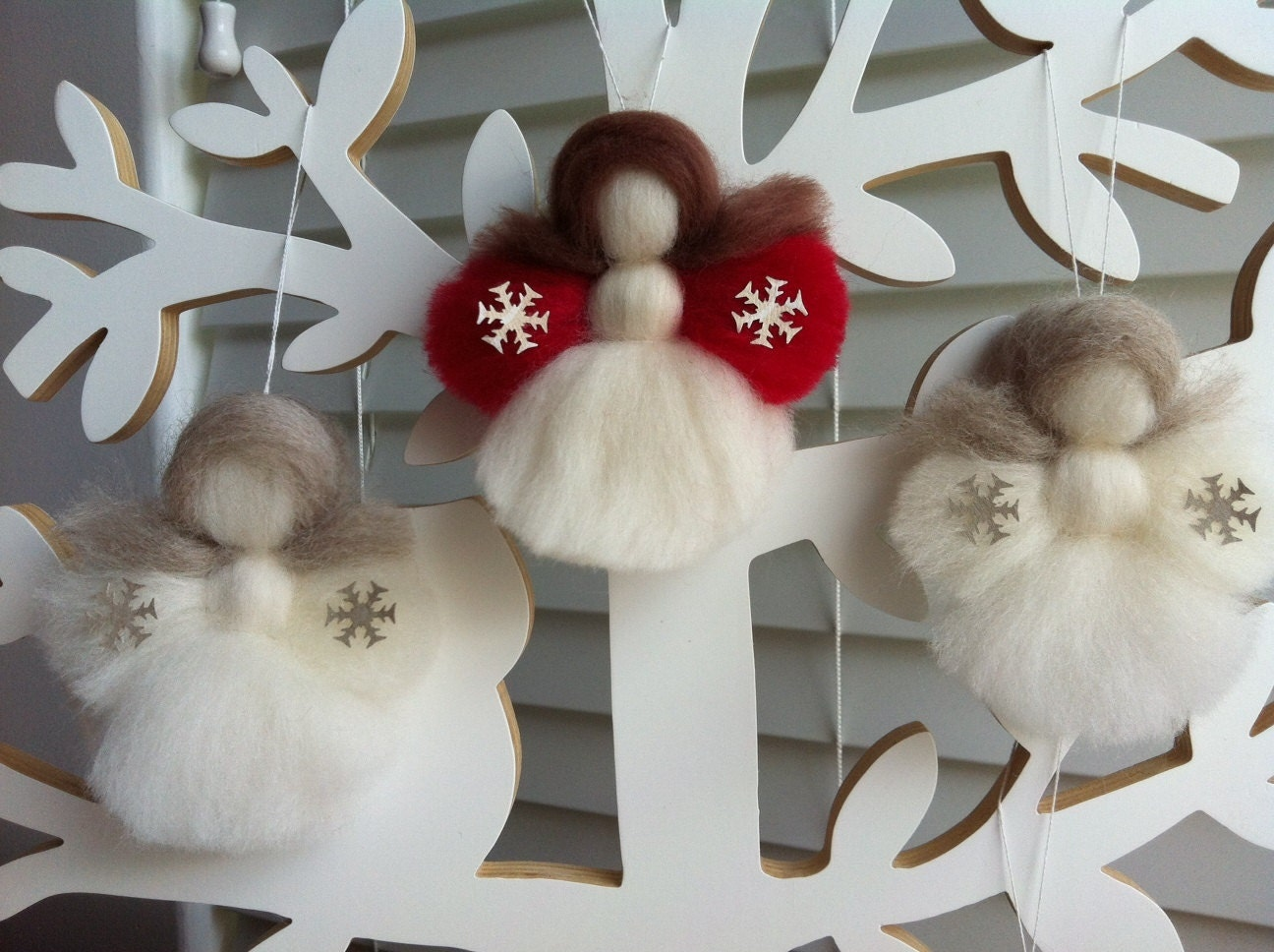 Christmas decorations: 2-set 'the littlest angel on the christmas tree' white snowflake on red merino Christmas in July - MerinoAngel
