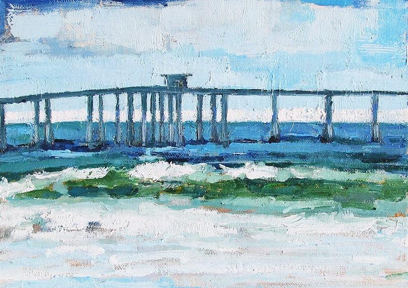 Ocean Beach Pier, San Diego, California Landscape Painting