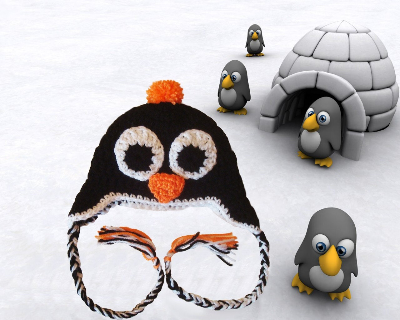 Funny Penguin hat with earflaps. Great gift or photo prop. Sizes 0-12 month