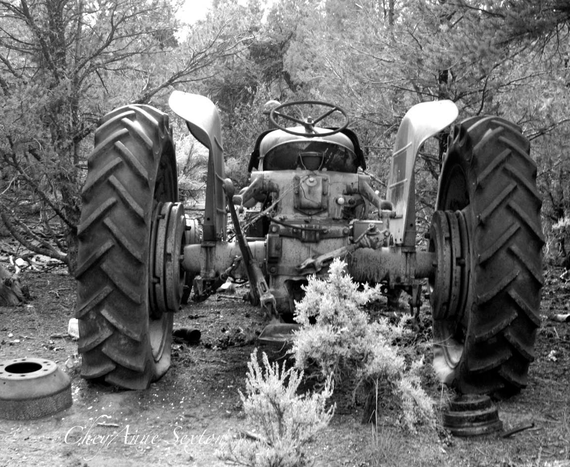 Old Tractor Black and White Photography Broken by ...