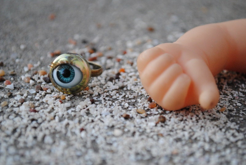 eye of the beholder adjustable bronze blue eye ring