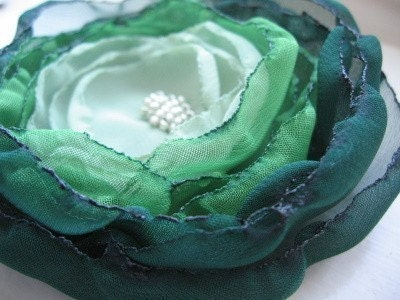 Bold  Shades of Green Chiffon Flower Hair Clip