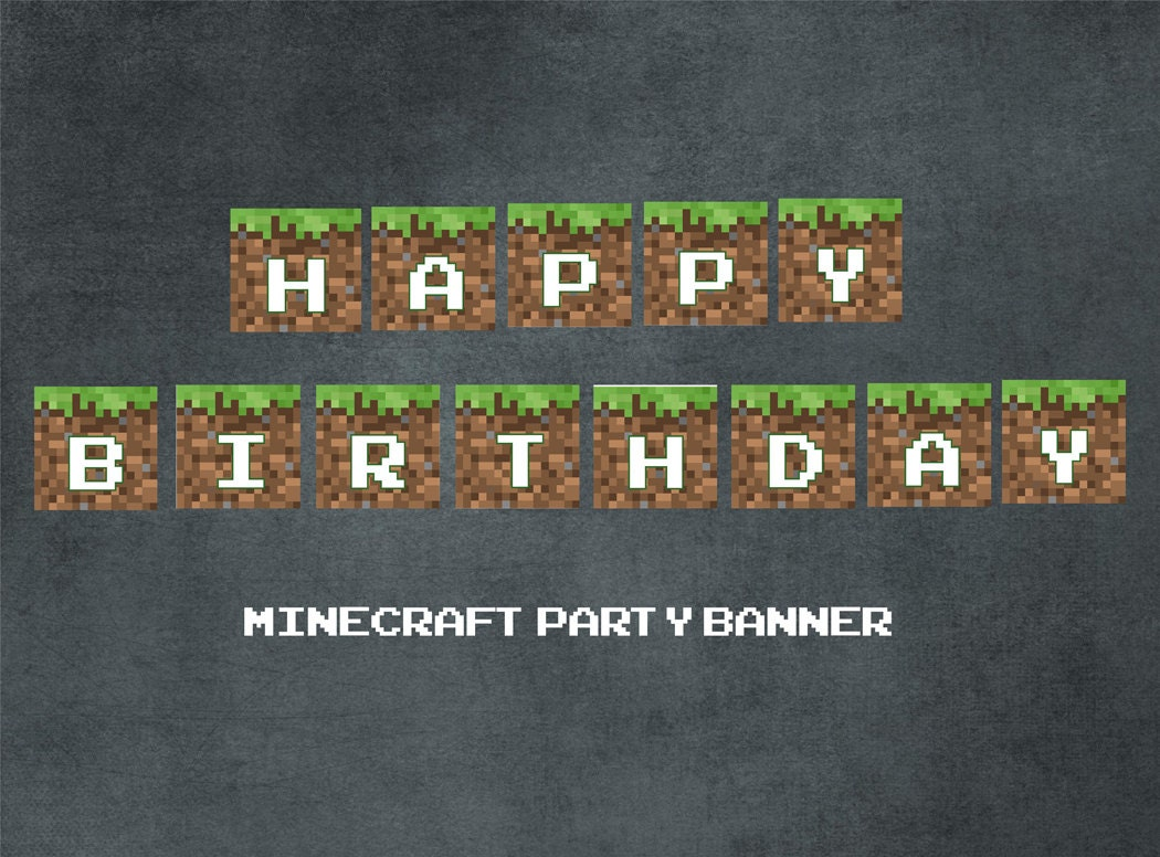Astounding Items Similar To Printable Minecraft Party Banner Happy Funny Birthday Cards Online Aboleapandamsfinfo