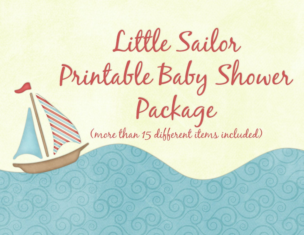 Nautical Baby Shower Party Package Complete Collection --  Digital Printable without Personalization