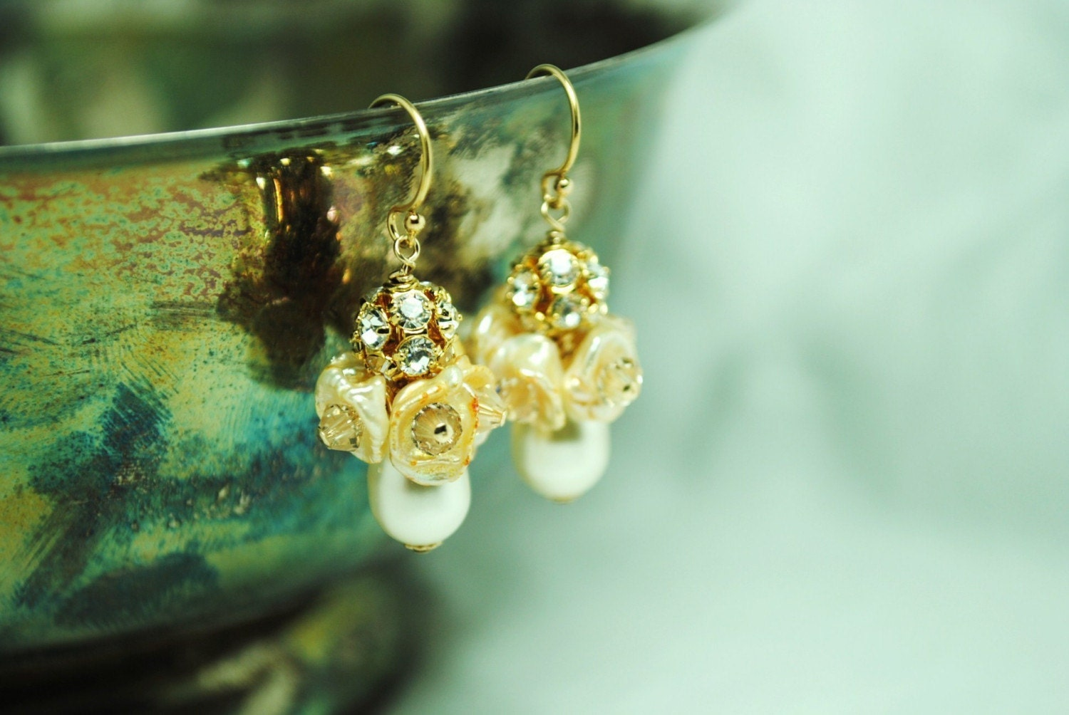 Goldie Earrings - Cream Pearls, Sparkle, Elegant, Teardrop, Bridal, Special Occasion, FREE SHIPPING, E259B09