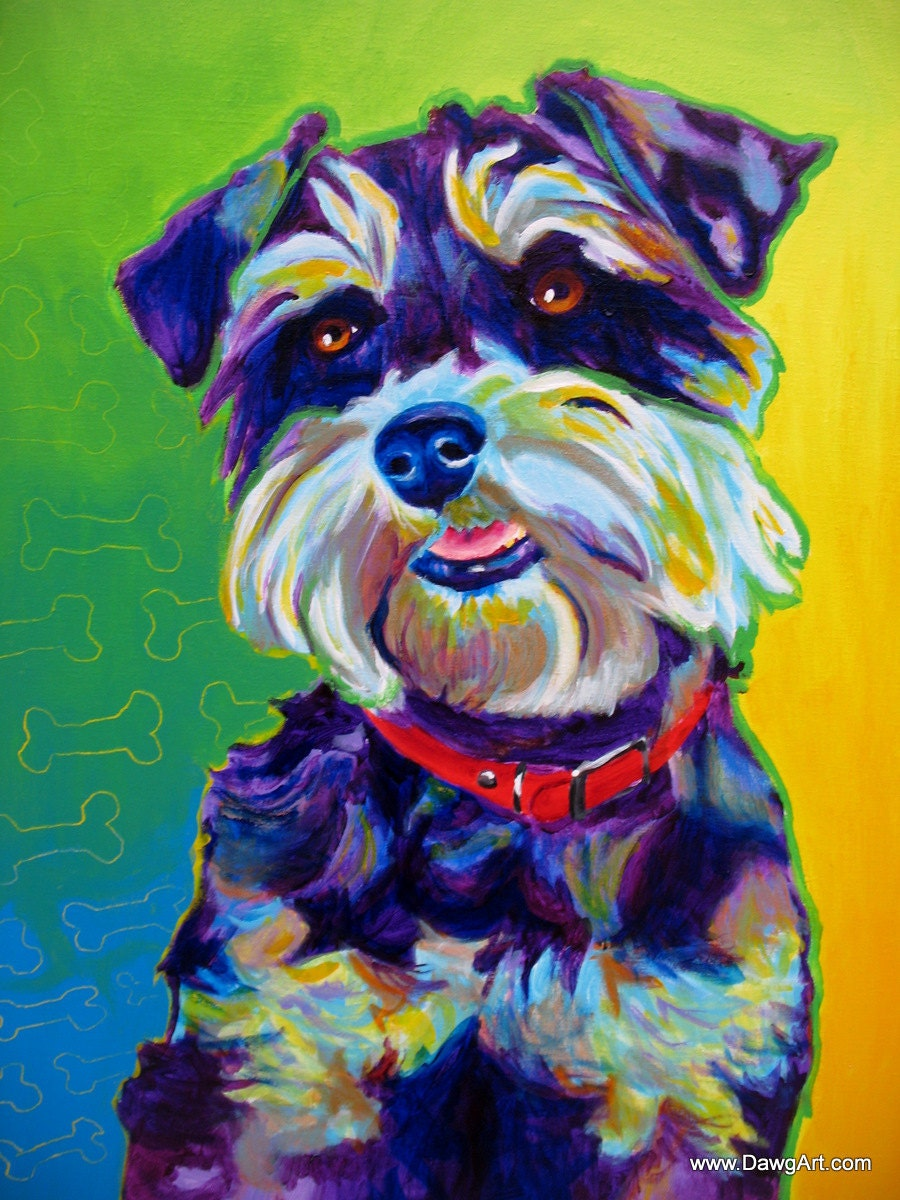 Colorful pet portrait miniature schnauzer dog art by for Dog painting artist