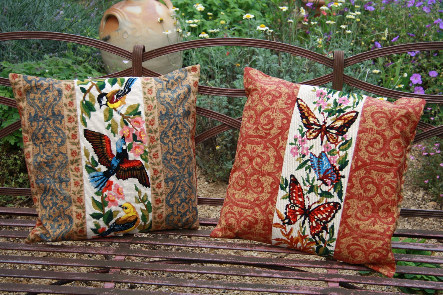 Pair of decorative cushions with 1960s Bird & Butterfly French tapestry panels