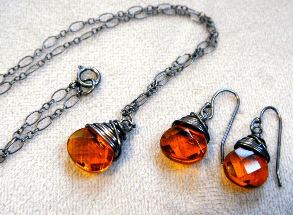Orange and Antiqued Silver Necklace and Earring by tracedesigns necklace