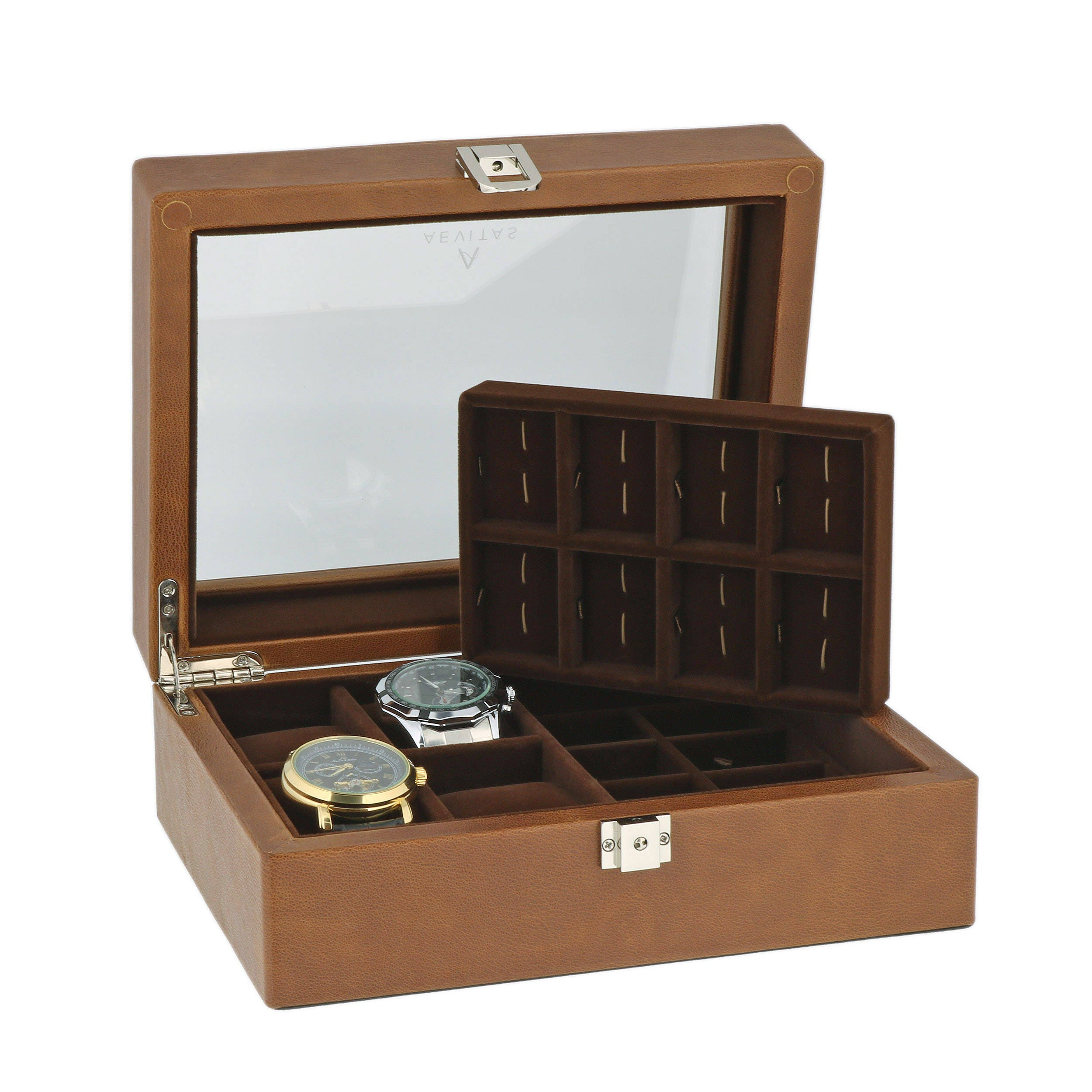 Brown GENUINE LEATHER 4 watch  16 Pair Cufflinks Collectors Box with Brown velvet lining by Aevitas