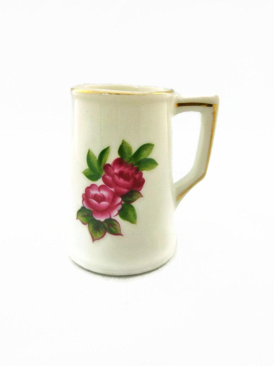 Miniature Vase Roses Gold Rim - SheLeftUsThis