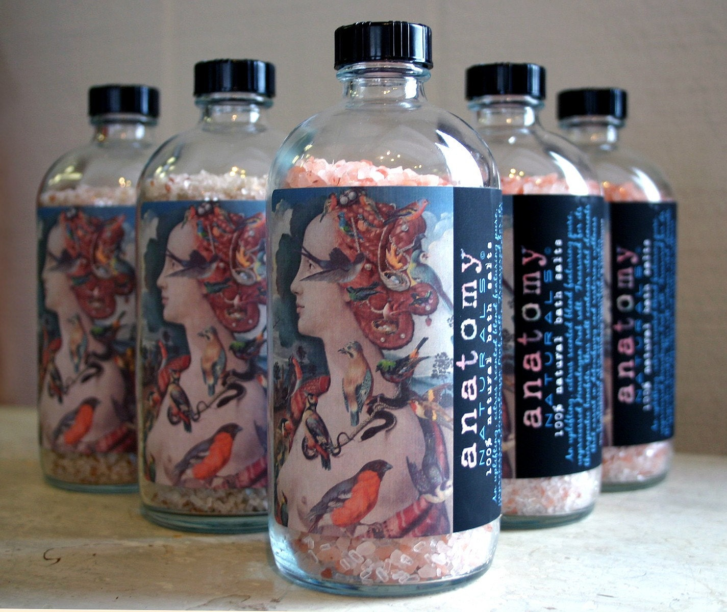 Natural pink bath salts soothing relaxing citrus scent with pretty art collage label
