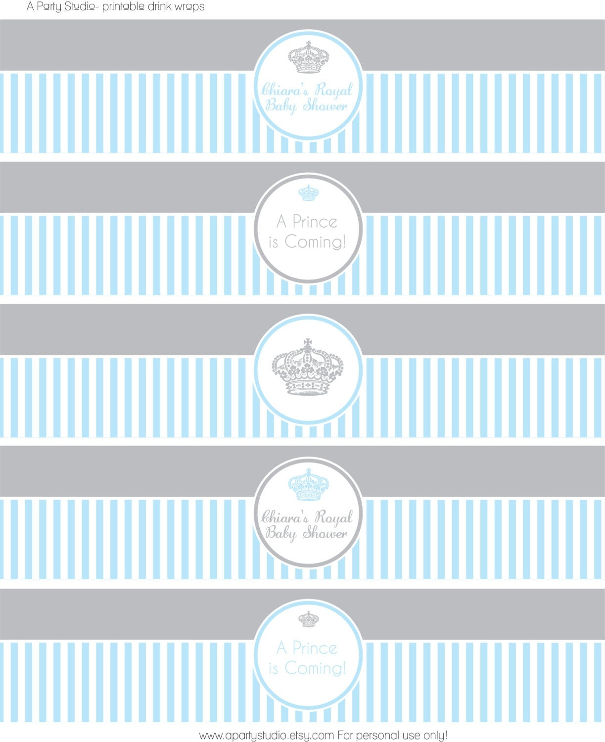 ... Baby Shower in Blue and Grey- Water Bottle Wrappers- Print your own