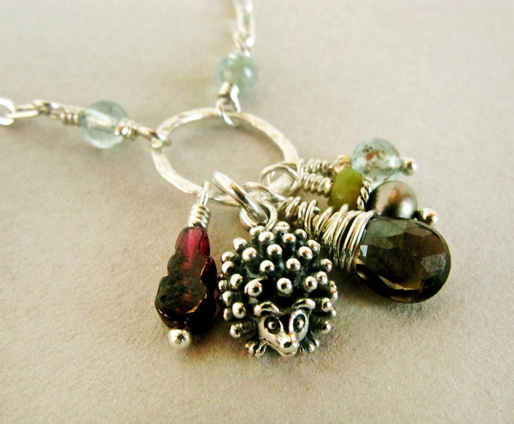 HEDGIE - mixed gemstone and sterling silver charm necklace