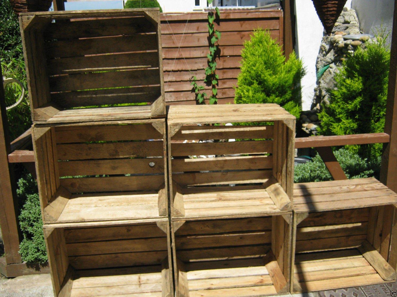 10 x Vintage Rustic European Wooden Apple Crates ideal storage boxes box display crate bookshelf idea