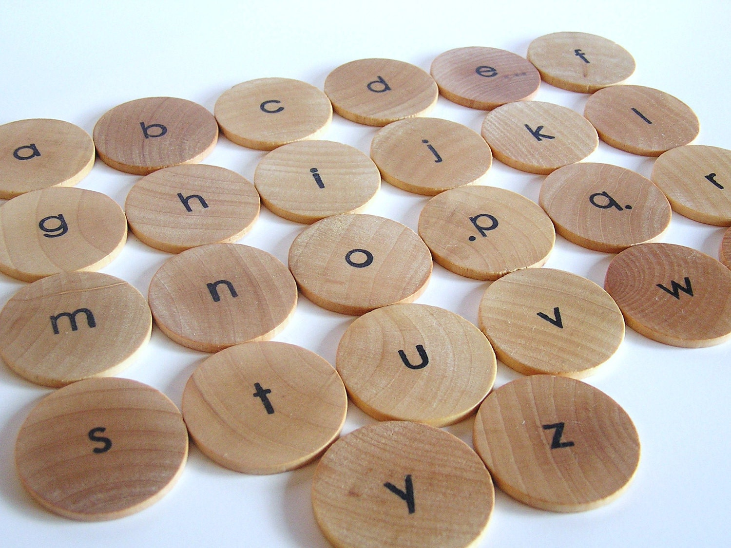 Natural Wood Toy- Lower Case  Moveable Alphabet- Waldorf Montessori Educational Game - applenamos