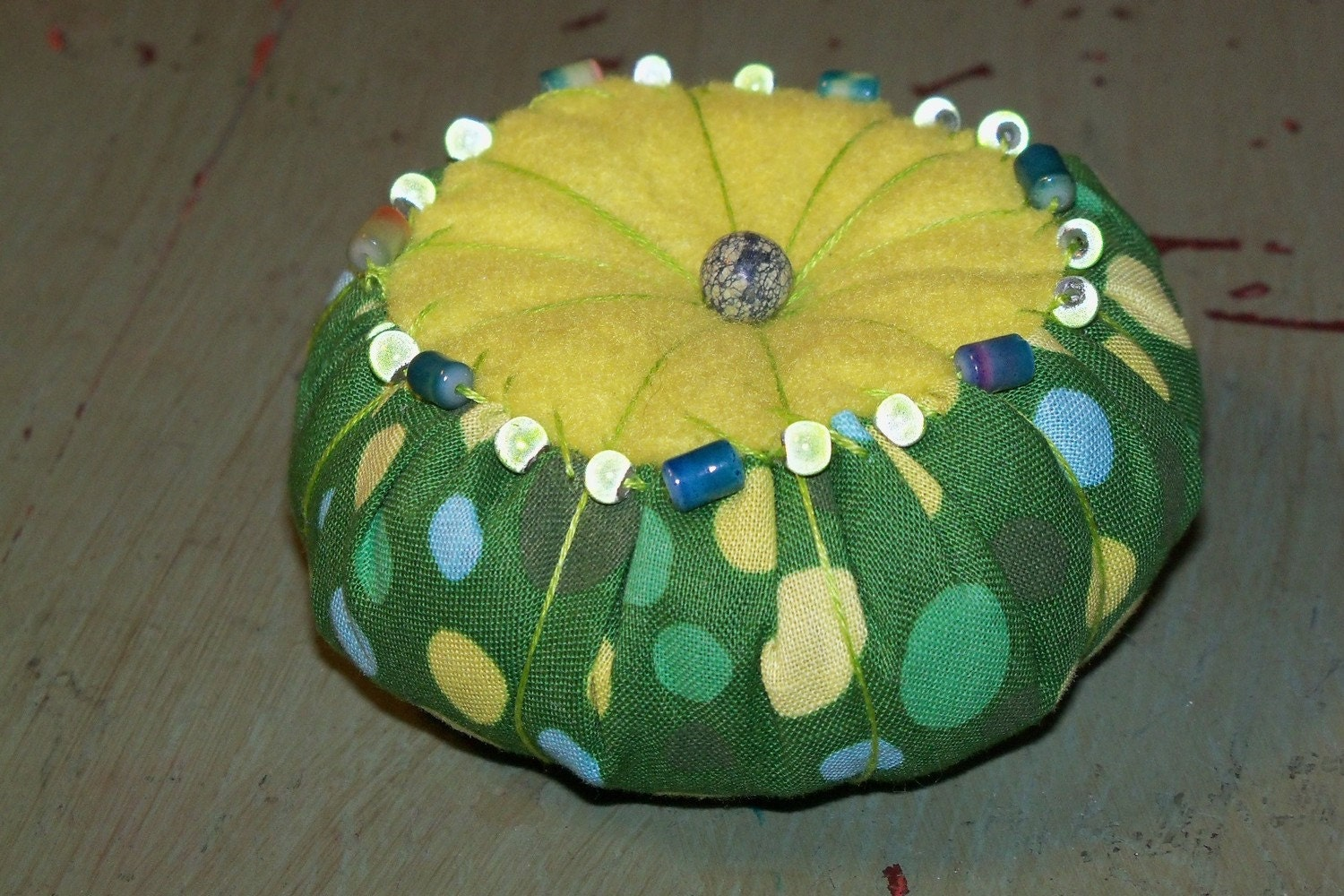 Polka Dot Green and Yellow Beaded Pincushion