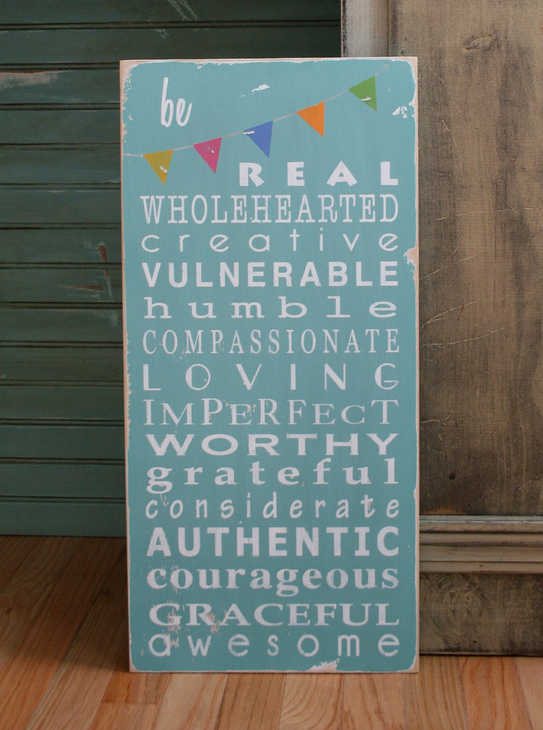 Be Wholehearted with Bunting Typography Word Art Sign