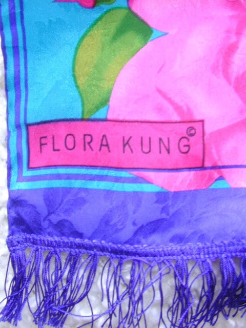 Vintage Flora Kung Long Bright Summer Cabbage Roses Silk Scarf with Fringe