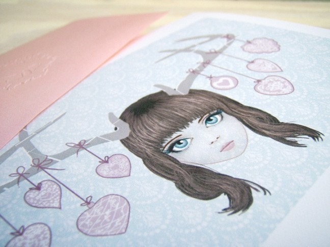 a Deer Girl and hearts single note card in pink