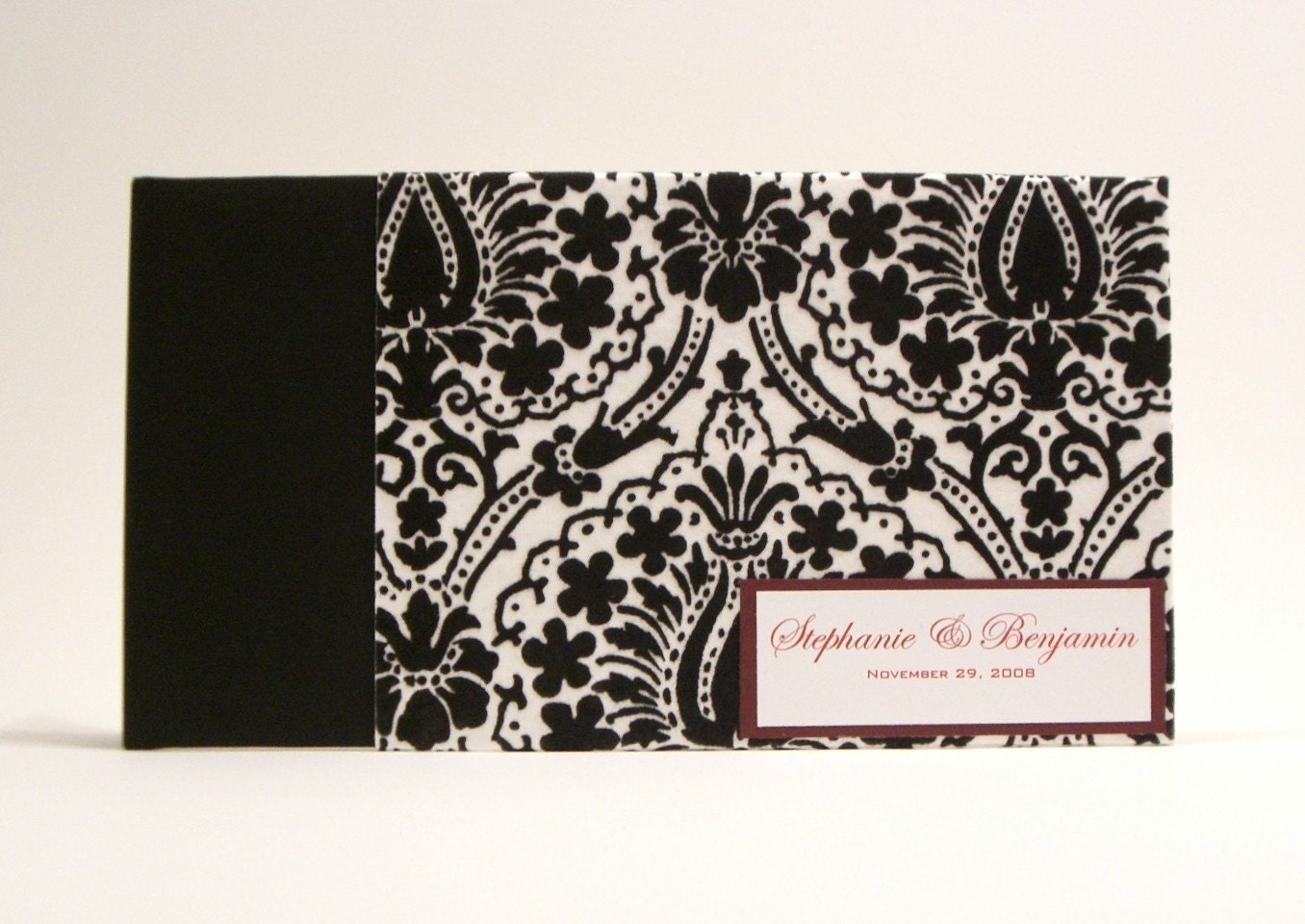 Custom Made Guestbook / Album- Black and White Flocked Damask Print