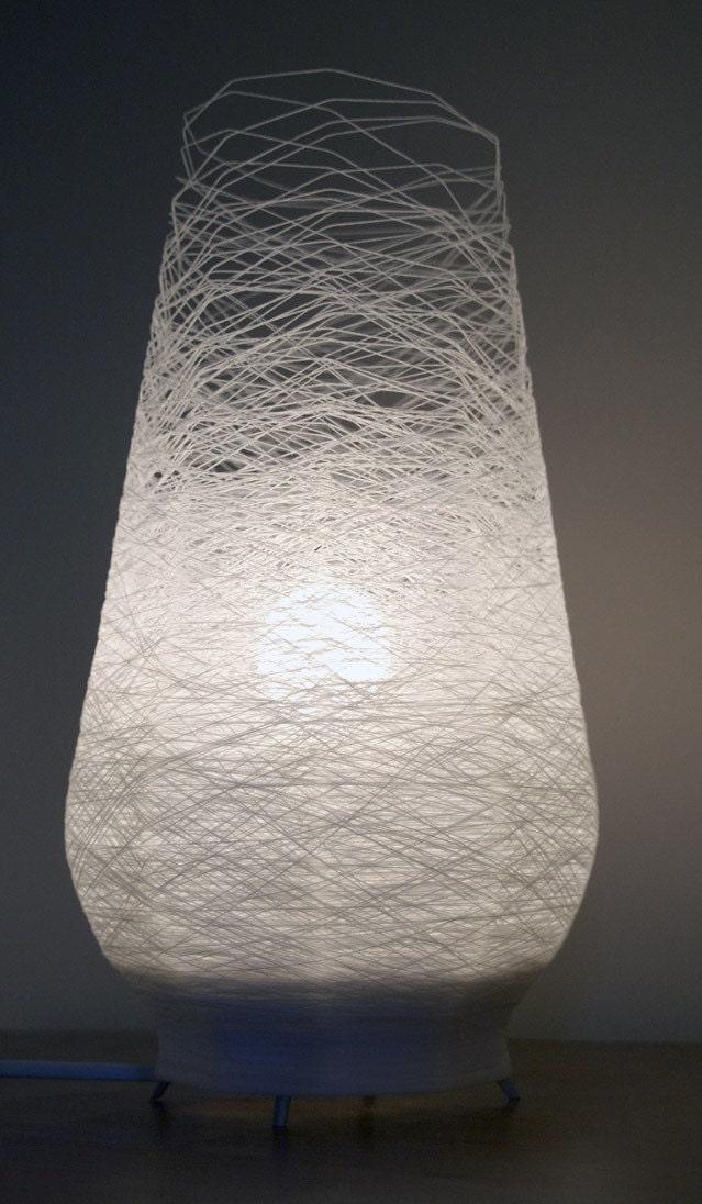 Spun table lamp in white